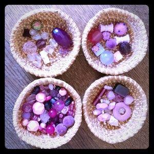 Pretty in pink & purple glass bead lot